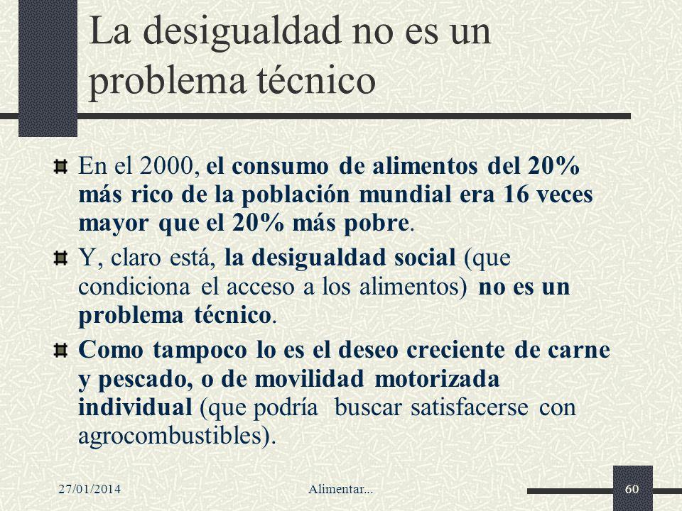 27/01/2014Alimentar...60 La desigualdad no es un problema técnico En el 2000, el consumo de alimentos del 20% más rico de la población mundial era 16