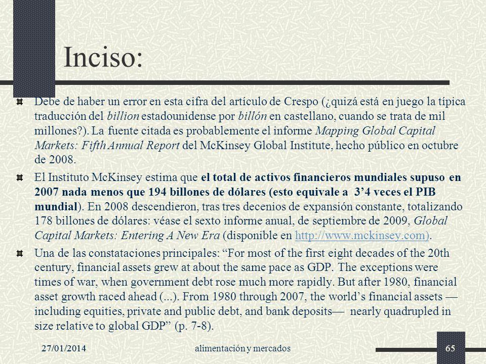27/01/2014alimentación y mercados65 Inciso: Debe de haber un error en esta cifra del artículo de Crespo (¿quizá está en juego la típica traducción del