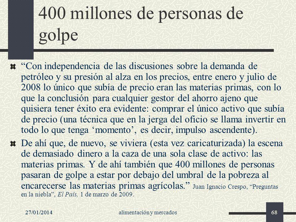 27/01/2014alimentación y mercados6827/01/201468 400 millones de personas de golpe Con independencia de las discusiones sobre la demanda de petróleo y