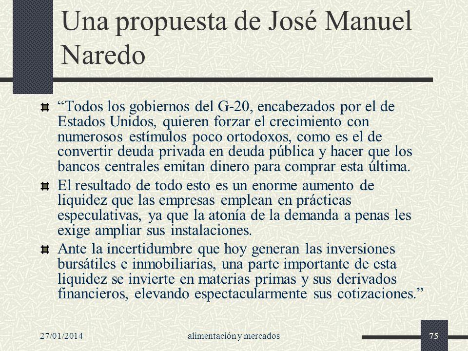 27/01/2014alimentación y mercados75 Una propuesta de José Manuel Naredo Todos los gobiernos del G-20, encabezados por el de Estados Unidos, quieren fo