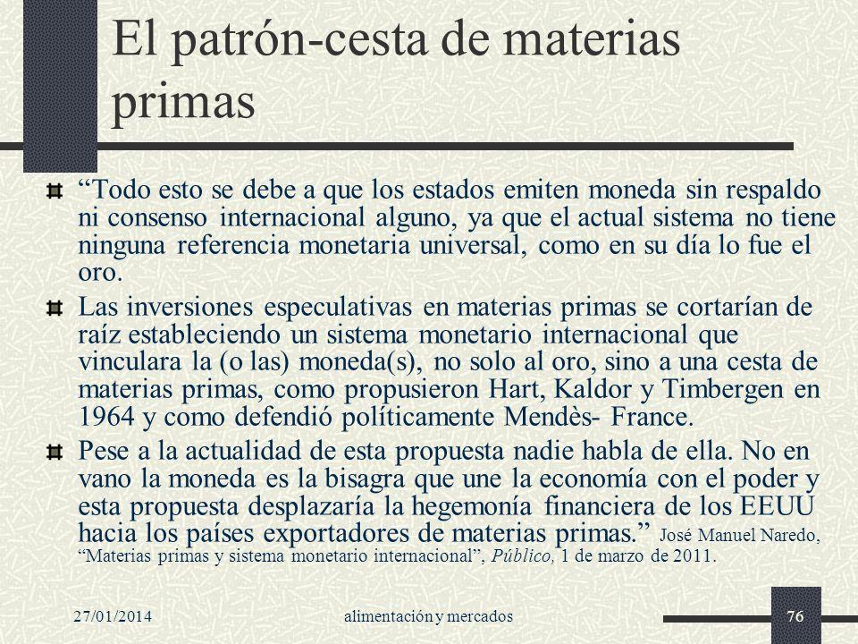 27/01/2014alimentación y mercados76 El patrón-cesta de materias primas Todo esto se debe a que los estados emiten moneda sin respaldo ni consenso inte