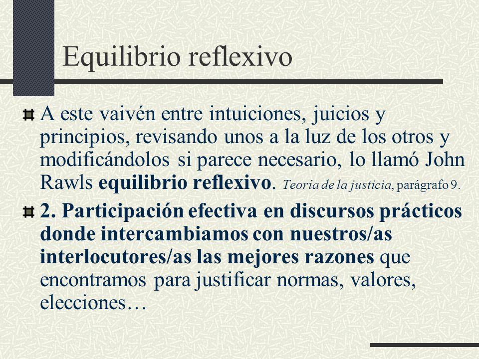 Equilibrio reflexivo A este vaivén entre intuiciones, juicios y principios, revisando unos a la luz de los otros y modificándolos si parece necesario,