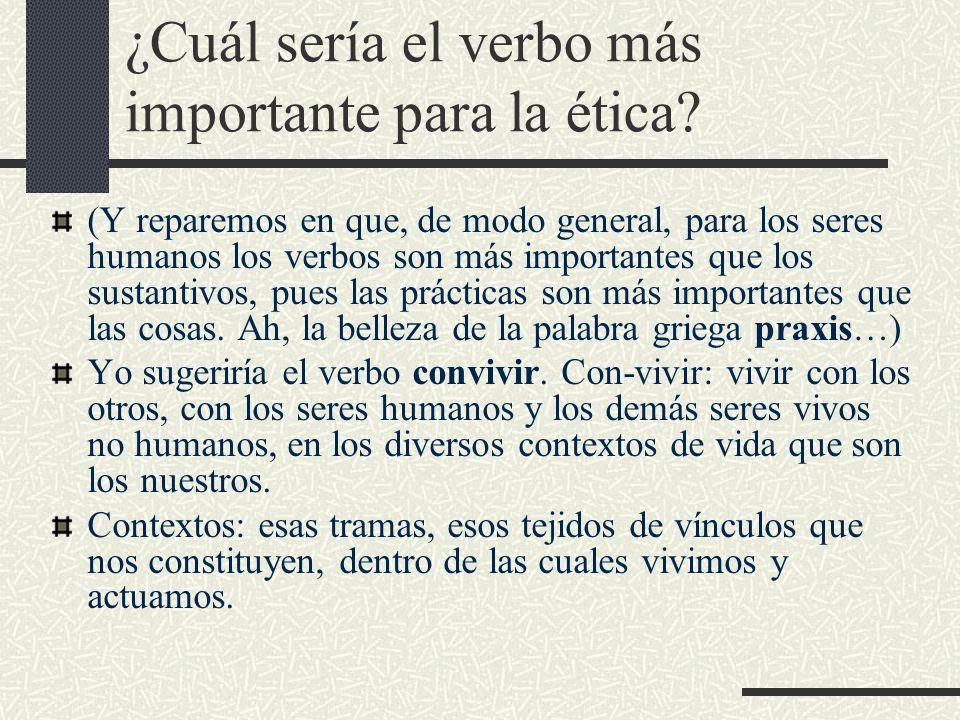 ¿Cuál sería el verbo más importante para la ética? (Y reparemos en que, de modo general, para los seres humanos los verbos son más importantes que los