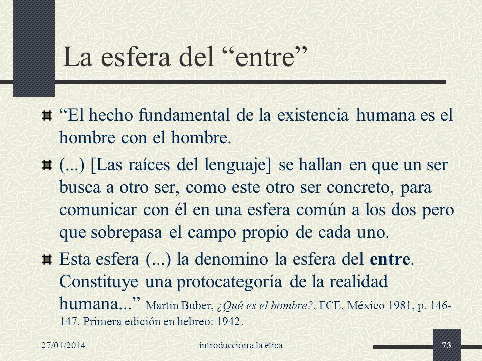27/01/2014introducción a la ética73 La esfera del entre El hecho fundamental de la existencia humana es el hombre con el hombre. (...) [Las raíces del