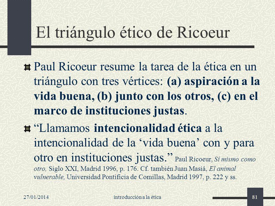 27/01/2014introducción a la ética81 El triángulo ético de Ricoeur Paul Ricoeur resume la tarea de la ética en un triángulo con tres vértices: (a) aspi