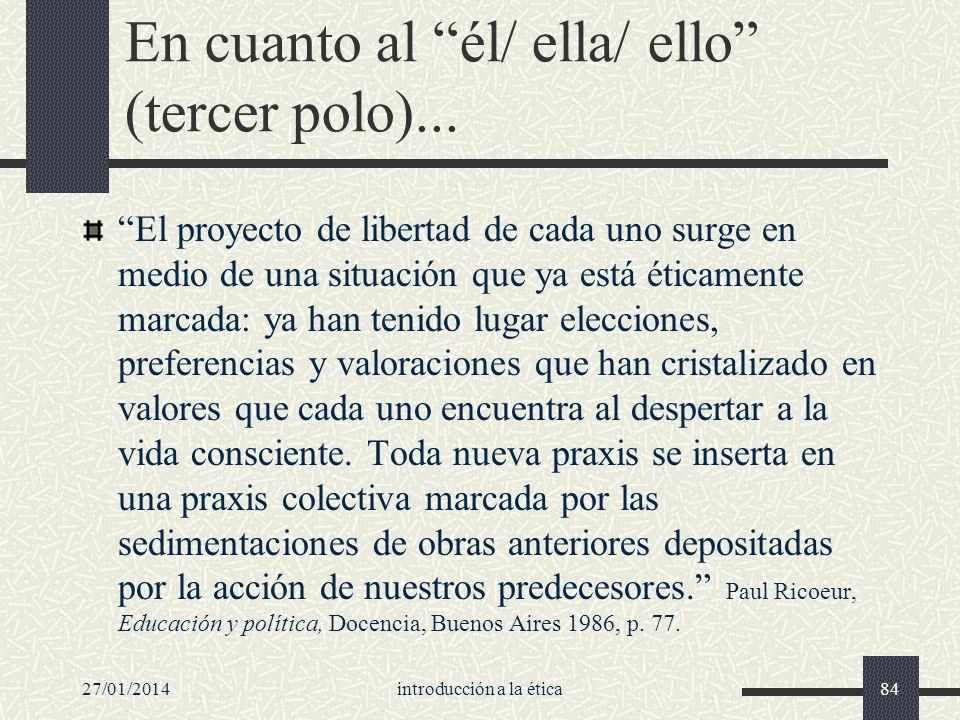 27/01/2014introducción a la ética84 En cuanto al él/ ella/ ello (tercer polo)... El proyecto de libertad de cada uno surge en medio de una situación q