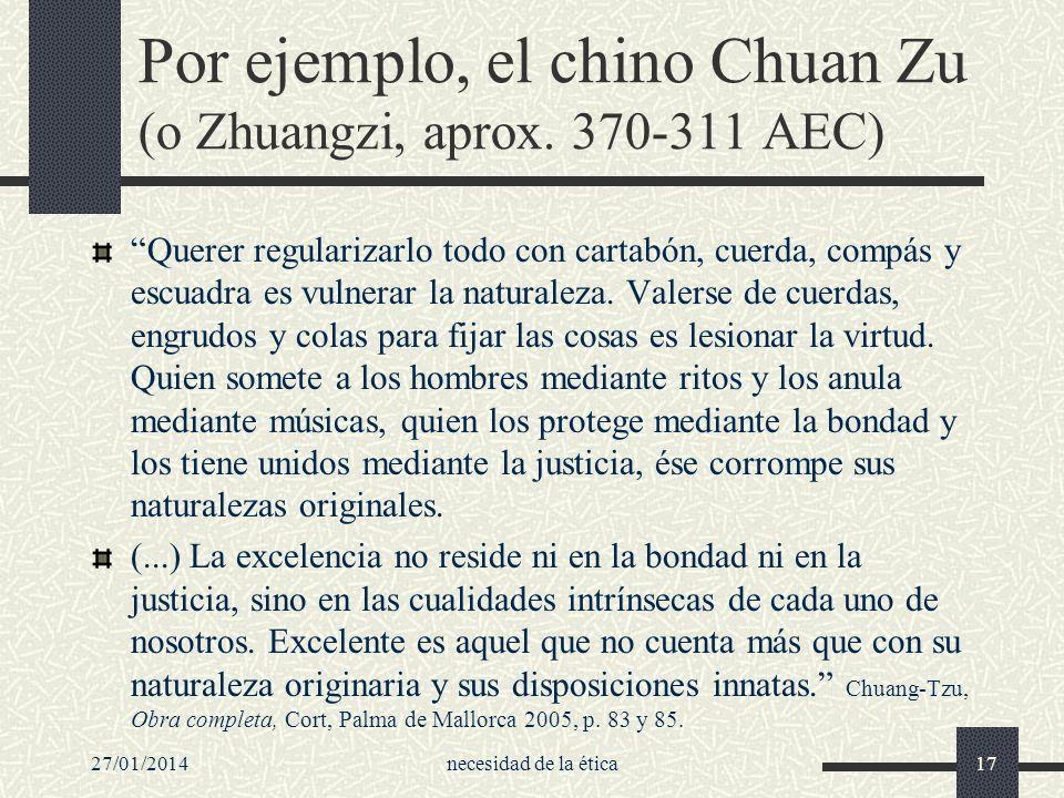 27/01/2014necesidad de la ética17 Por ejemplo, el chino Chuan Zu (o Zhuangzi, aprox. 370-311 AEC) Querer regularizarlo todo con cartabón, cuerda, comp