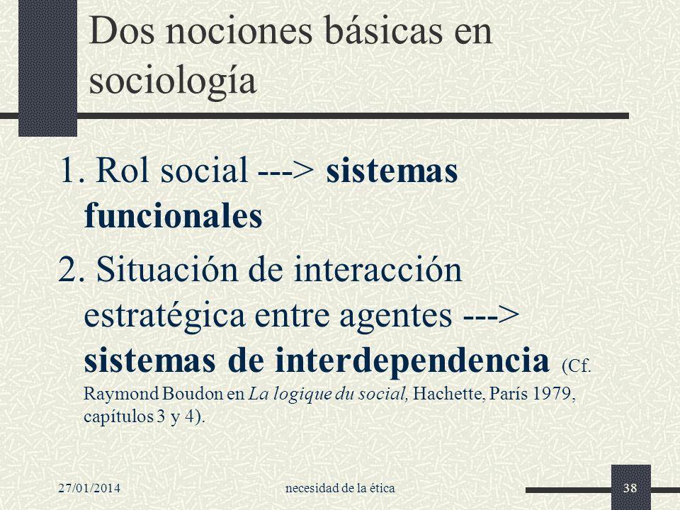 27/01/2014necesidad de la ética38 Dos nociones básicas en sociología 1. Rol social ---> sistemas funcionales 2. Situación de interacción estratégica e