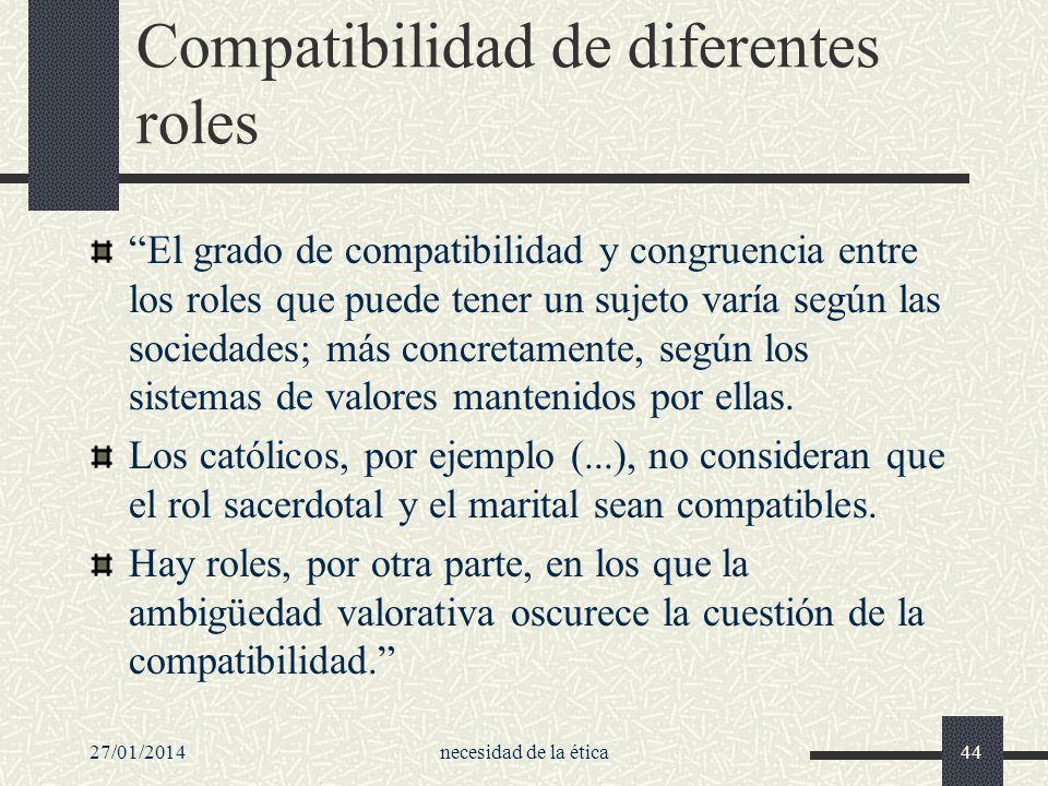 27/01/2014necesidad de la ética44 Compatibilidad de diferentes roles El grado de compatibilidad y congruencia entre los roles que puede tener un sujet