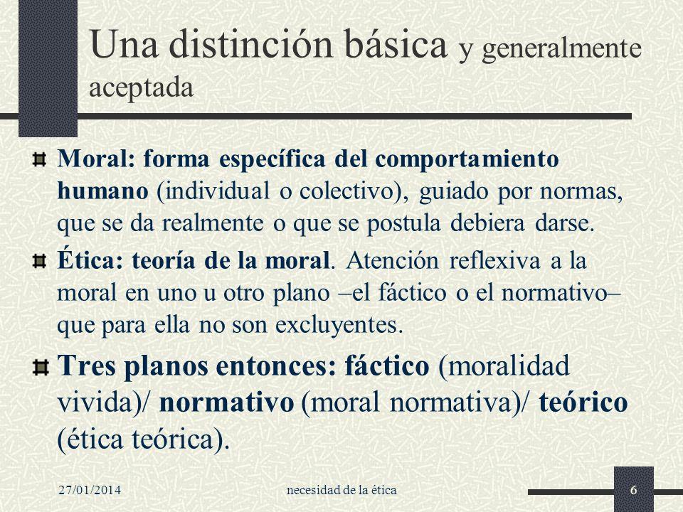 27/01/2014necesidad de la ética6 Una distinción básica y generalmente aceptada Moral: forma específica del comportamiento humano (individual o colecti