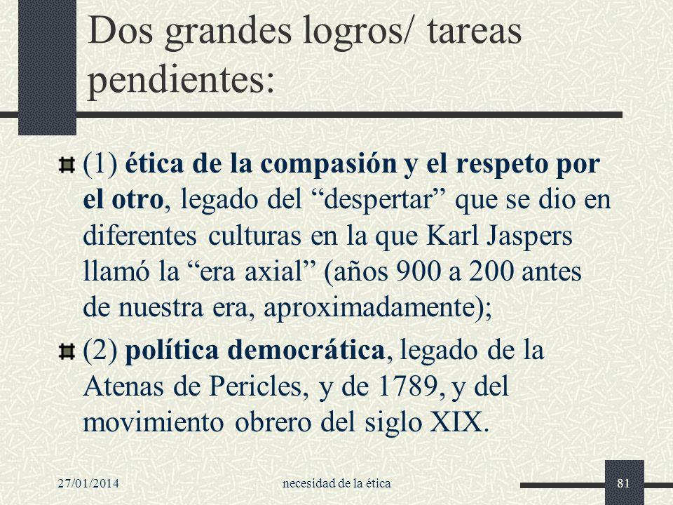 Dos grandes logros/ tareas pendientes: (1) ética de la compasión y el respeto por el otro, legado del despertar que se dio en diferentes culturas en l
