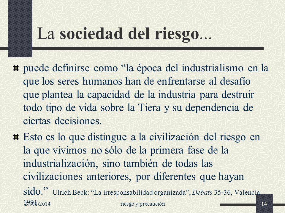 27/01/2014riesgo y precaución14 La sociedad del riesgo... puede definirse como la época del industrialismo en la que los seres humanos han de enfrenta