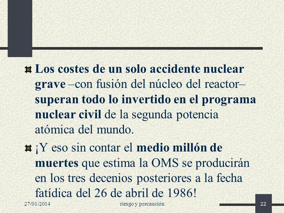 Los costes de un solo accidente nuclear grave –con fusión del núcleo del reactor– superan todo lo invertido en el programa nuclear civil de la segunda