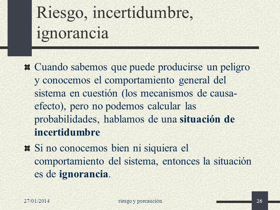 27/01/2014riesgo y precaución26 Riesgo, incertidumbre, ignorancia Cuando sabemos que puede producirse un peligro y conocemos el comportamiento general