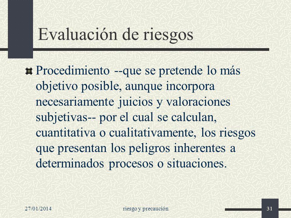 27/01/2014riesgo y precaución31 Evaluación de riesgos Procedimiento --que se pretende lo más objetivo posible, aunque incorpora necesariamente juicios