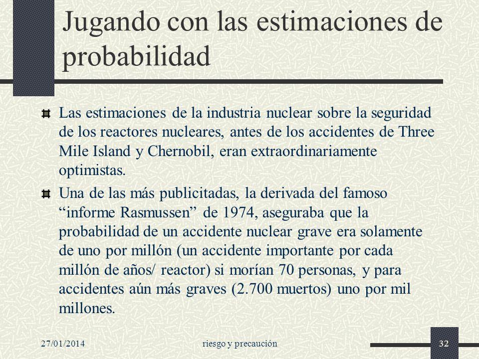 27/01/2014riesgo y precaución32 Jugando con las estimaciones de probabilidad Las estimaciones de la industria nuclear sobre la seguridad de los reacto