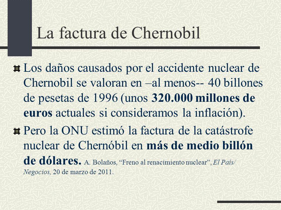 La factura de Chernobil Los daños causados por el accidente nuclear de Chernobil se valoran en –al menos-- 40 billones de pesetas de 1996 (unos 320.00