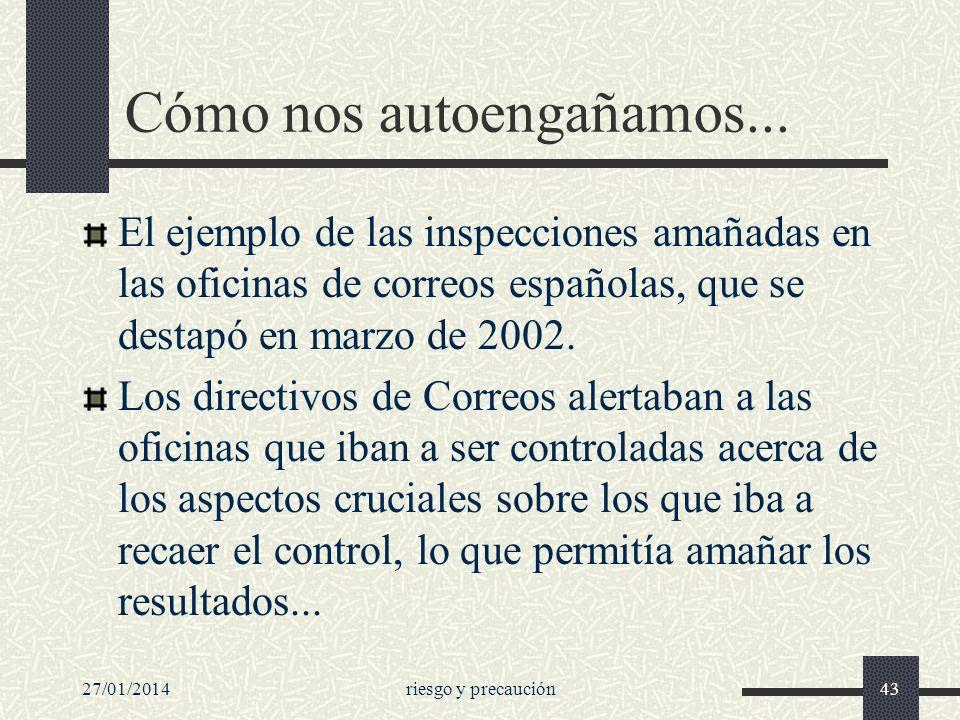 27/01/2014riesgo y precaución43 Cómo nos autoengañamos... El ejemplo de las inspecciones amañadas en las oficinas de correos españolas, que se destapó