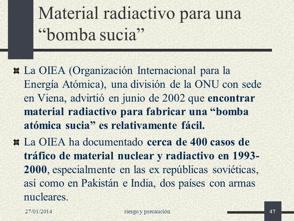 27/01/2014riesgo y precaución47 Material radiactivo para una bomba sucia La OIEA (Organización Internacional para la Energía Atómica), una división de
