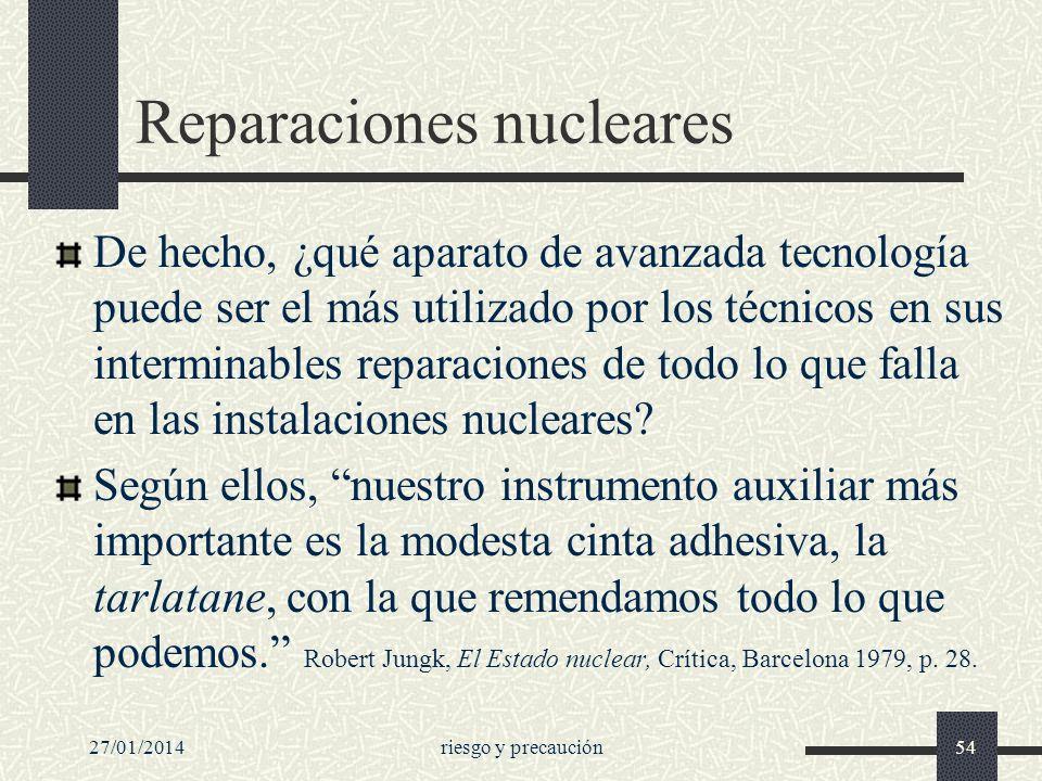 27/01/2014riesgo y precaución54 Reparaciones nucleares De hecho, ¿qué aparato de avanzada tecnología puede ser el más utilizado por los técnicos en su