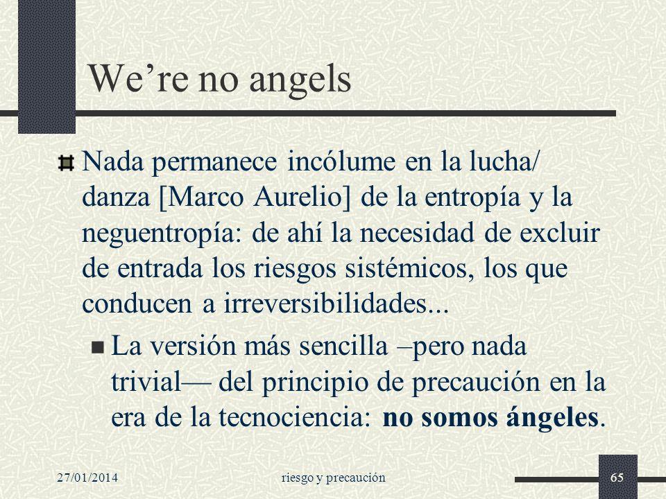 27/01/2014riesgo y precaución65 Were no angels Nada permanece incólume en la lucha/ danza [Marco Aurelio] de la entropía y la neguentropía: de ahí la