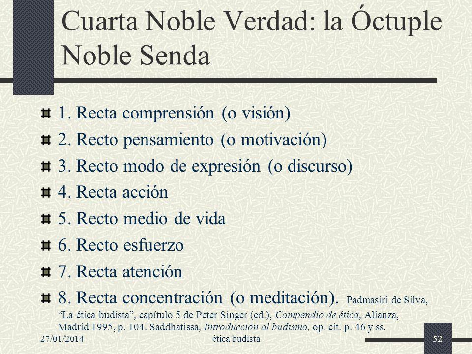 27/01/2014ética budista52 Cuarta Noble Verdad: la Óctuple Noble Senda 1. Recta comprensión (o visión) 2. Recto pensamiento (o motivación) 3. Recto mod