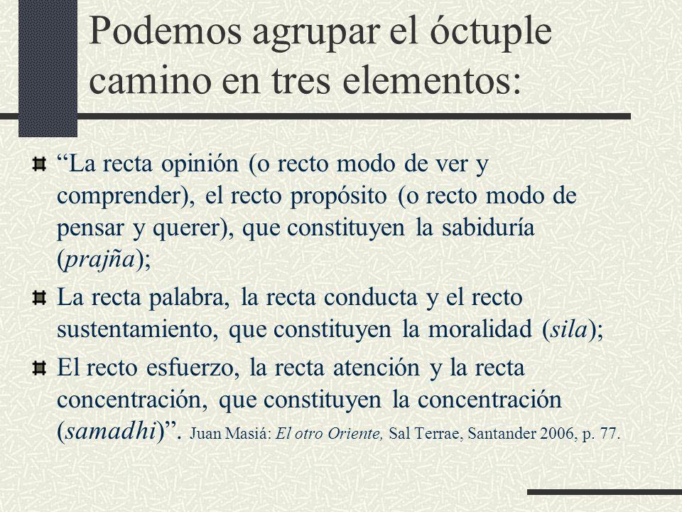 Podemos agrupar el óctuple camino en tres elementos: La recta opinión (o recto modo de ver y comprender), el recto propósito (o recto modo de pensar y