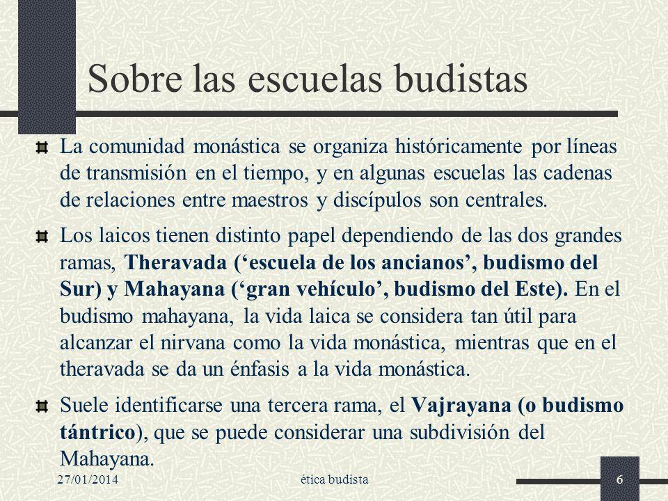 27/01/2014ética budista6 Sobre las escuelas budistas La comunidad monástica se organiza históricamente por líneas de transmisión en el tiempo, y en al