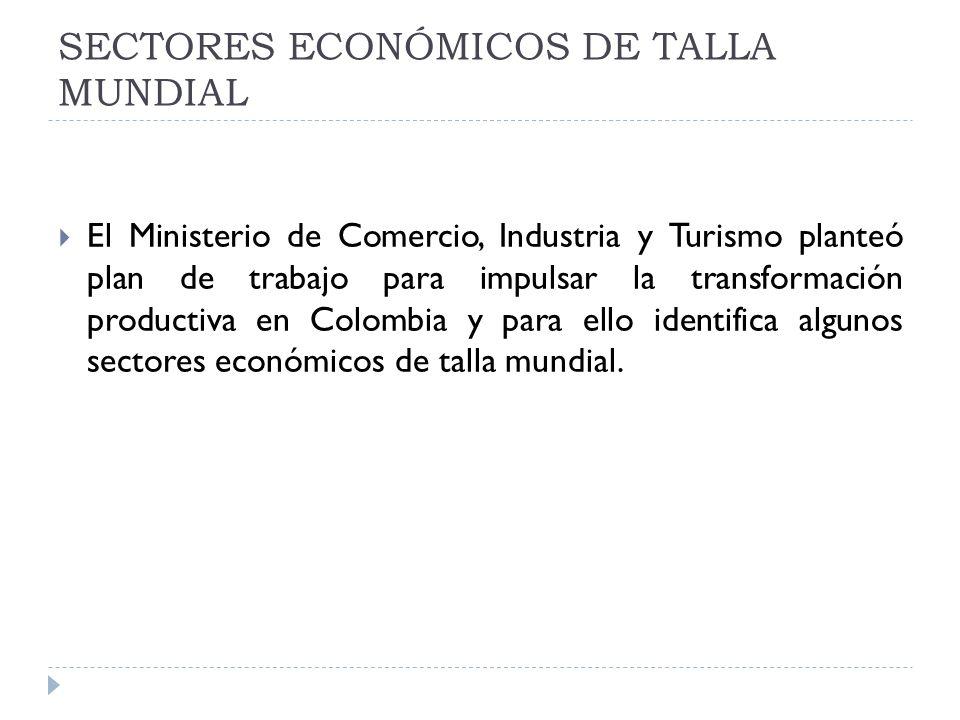SECTORES ECONÓMICOS DE TALLA MUNDIAL El Ministerio de Comercio, Industria y Turismo planteó plan de trabajo para impulsar la transformación productiva