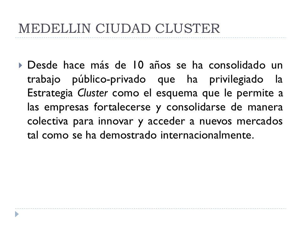 MEDELLIN CIUDAD CLUSTER Desde hace más de 10 años se ha consolidado un trabajo público-privado que ha privilegiado la Estrategia Cluster como el esque
