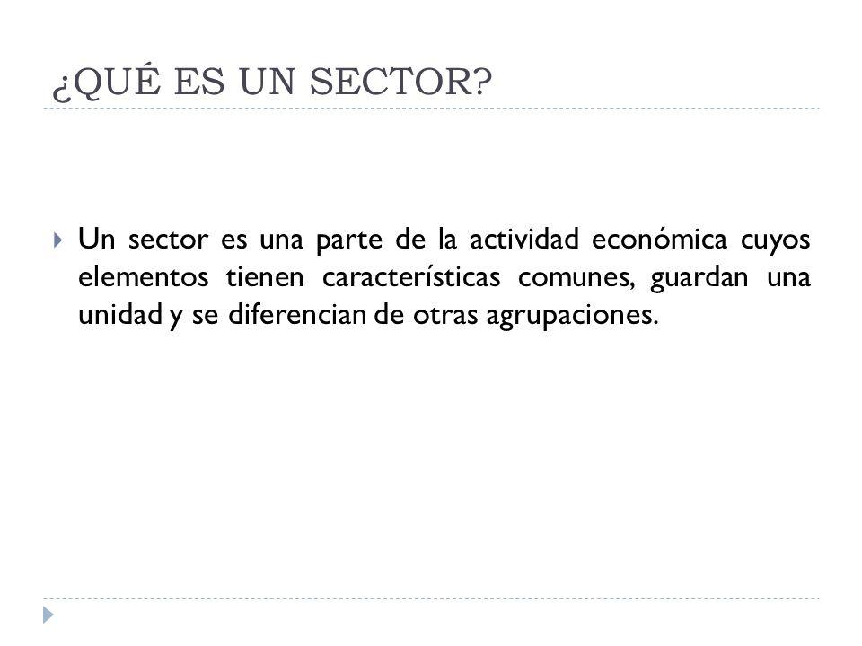 ¿QUÉ ES UN SECTOR? Un sector es una parte de la actividad económica cuyos elementos tienen características comunes, guardan una unidad y se diferencia