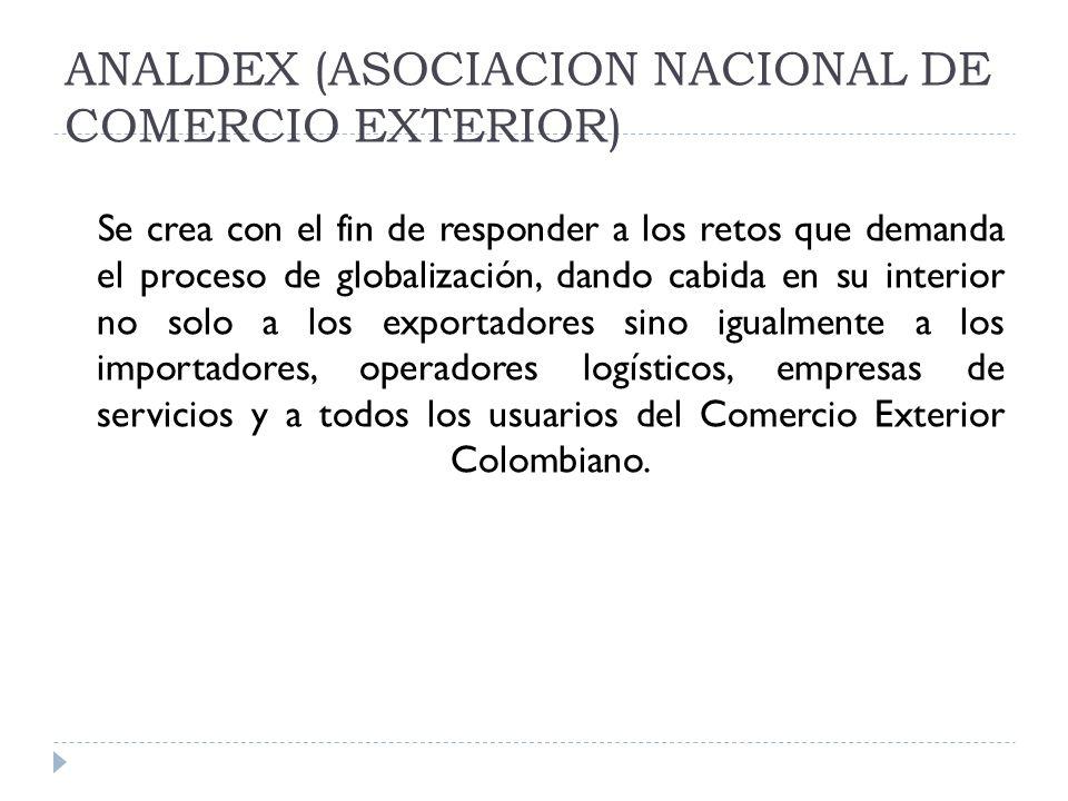ANALDEX (ASOCIACION NACIONAL DE COMERCIO EXTERIOR) Se crea con el fin de responder a los retos que demanda el proceso de globalización, dando cabida e