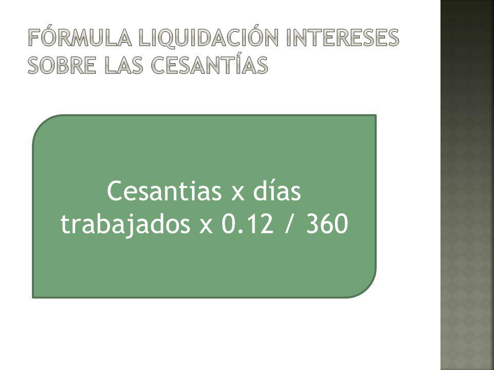 Cesantias x días trabajados x 0.12 / 360
