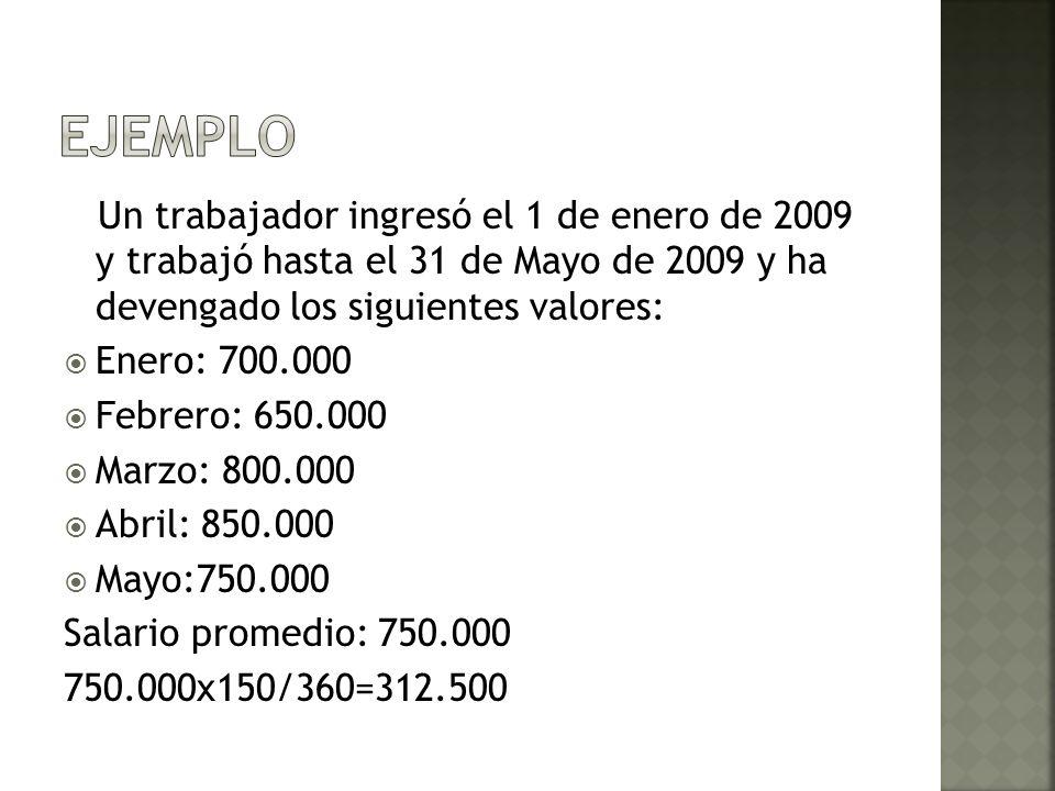 Un trabajador ingresó el 1 de enero de 2009 y trabajó hasta el 31 de Mayo de 2009 y ha devengado los siguientes valores: Enero: 700.000 Febrero: 650.0