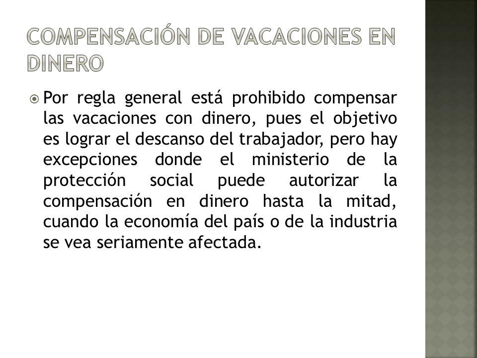 Por regla general está prohibido compensar las vacaciones con dinero, pues el objetivo es lograr el descanso del trabajador, pero hay excepciones dond