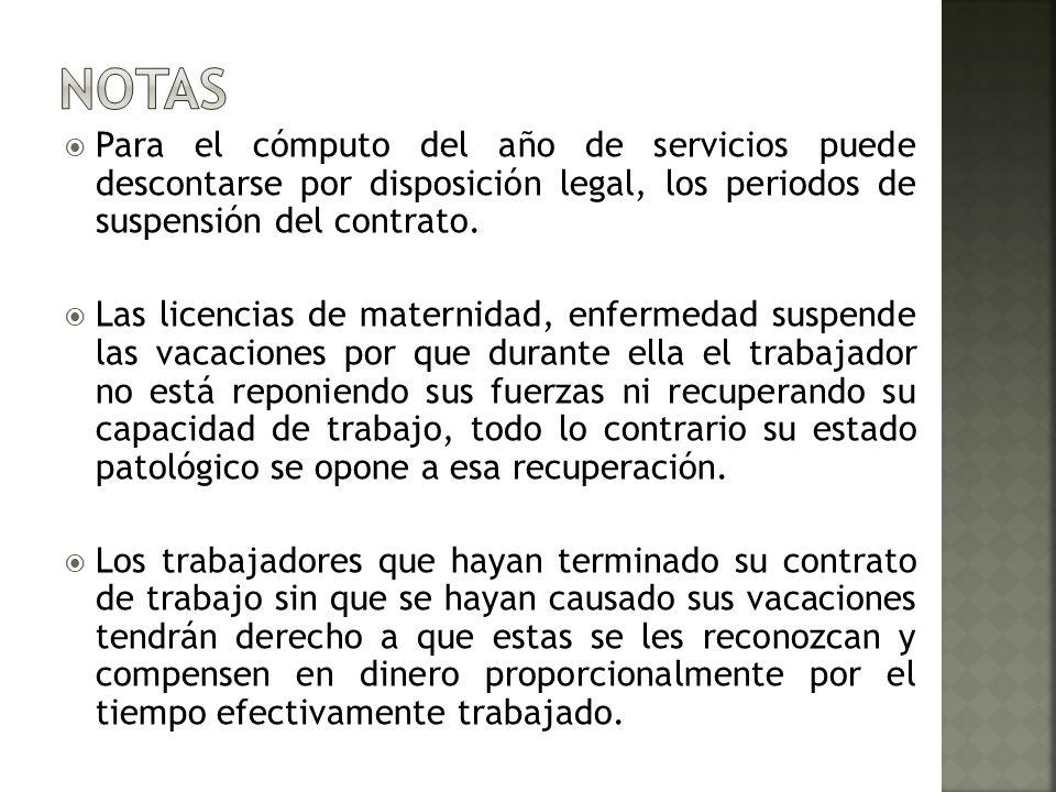 Para el cómputo del año de servicios puede descontarse por disposición legal, los periodos de suspensión del contrato. Las licencias de maternidad, en