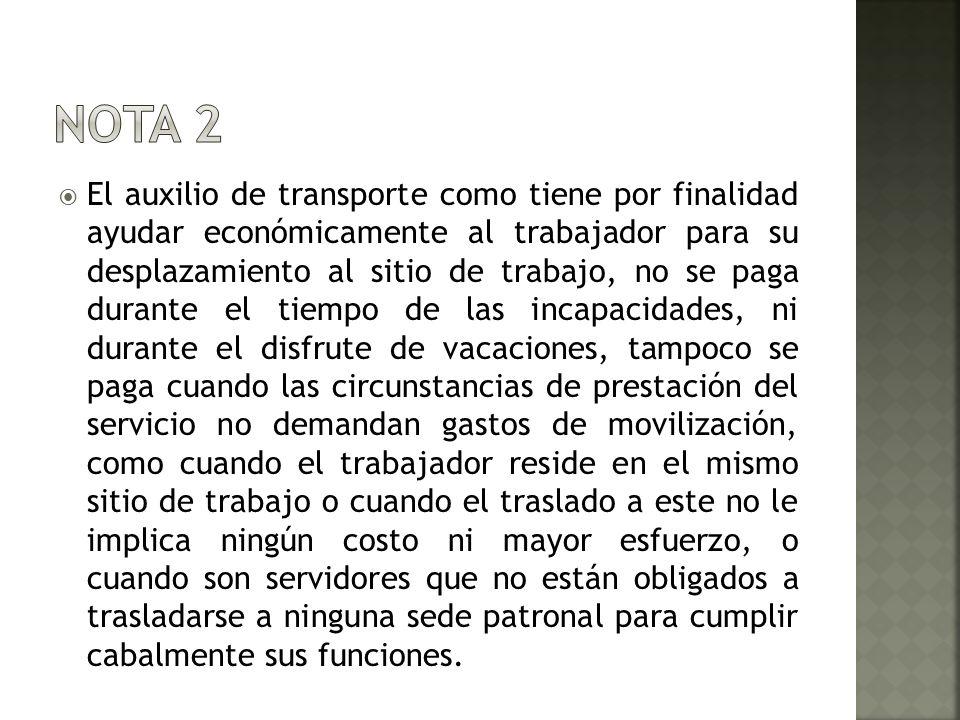 El auxilio de transporte como tiene por finalidad ayudar económicamente al trabajador para su desplazamiento al sitio de trabajo, no se paga durante e