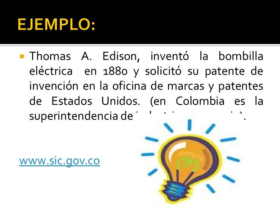 Thomas A. Edison, inventó la bombilla eléctrica en 1880 y solicitó su patente de invención en la oficina de marcas y patentes de Estados Unidos. (en C