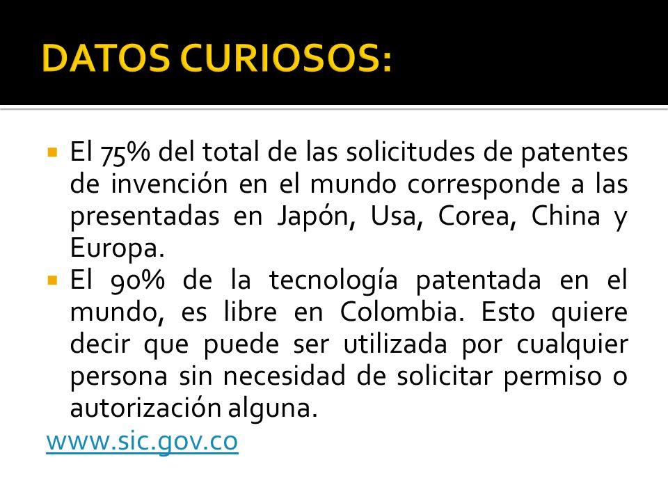 El 75% del total de las solicitudes de patentes de invención en el mundo corresponde a las presentadas en Japón, Usa, Corea, China y Europa. El 90% de