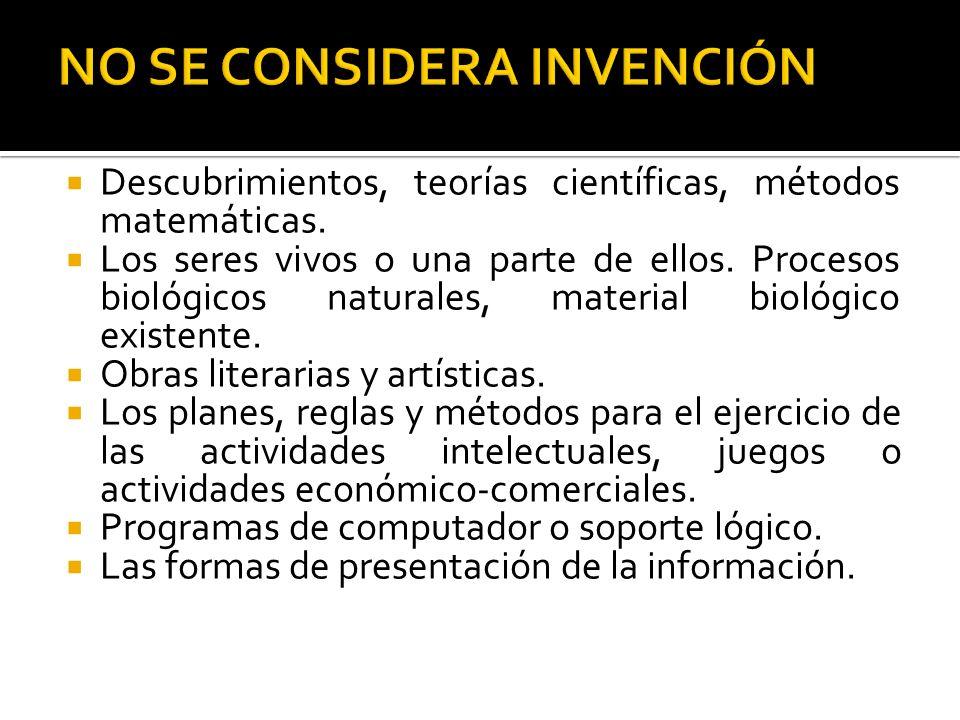 Descubrimientos, teorías científicas, métodos matemáticas. Los seres vivos o una parte de ellos. Procesos biológicos naturales, material biológico exi