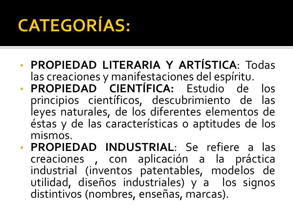 PROPIEDAD LITERARIA Y ARTÍSTICA: Todas las creaciones y manifestaciones del espíritu. PROPIEDAD CIENTÍFICA: Estudio de los principios científicos, des