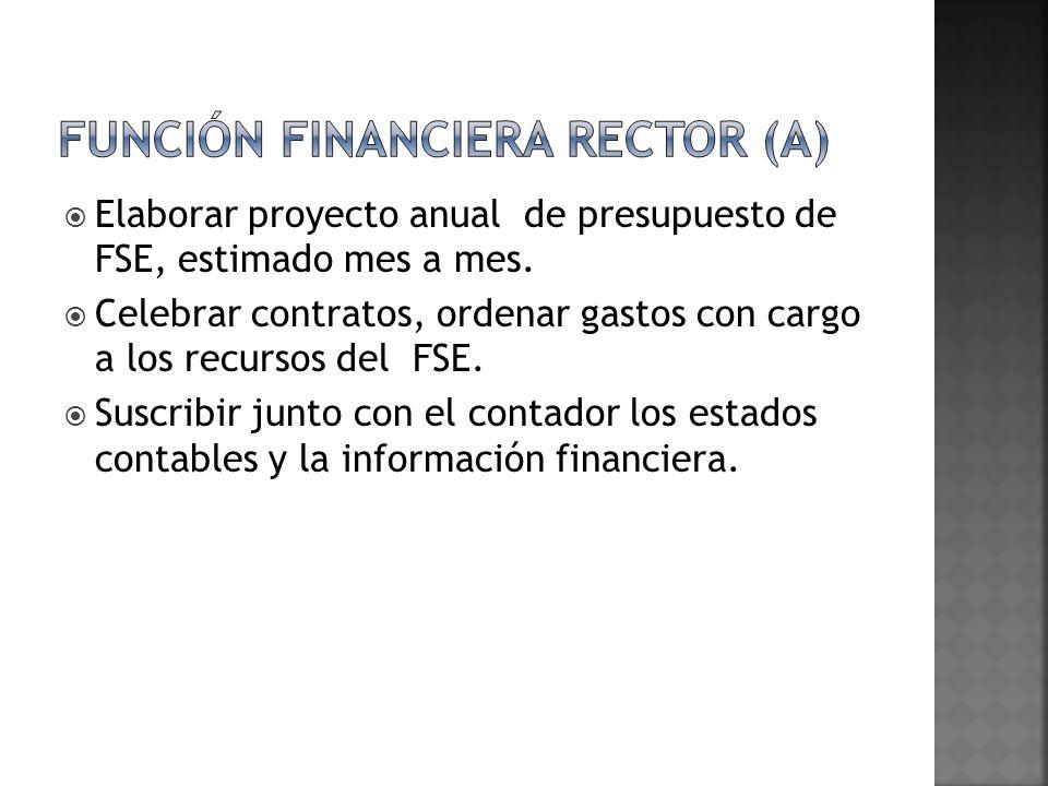 Elaborar proyecto anual de presupuesto de FSE, estimado mes a mes. Celebrar contratos, ordenar gastos con cargo a los recursos del FSE. Suscribir junt