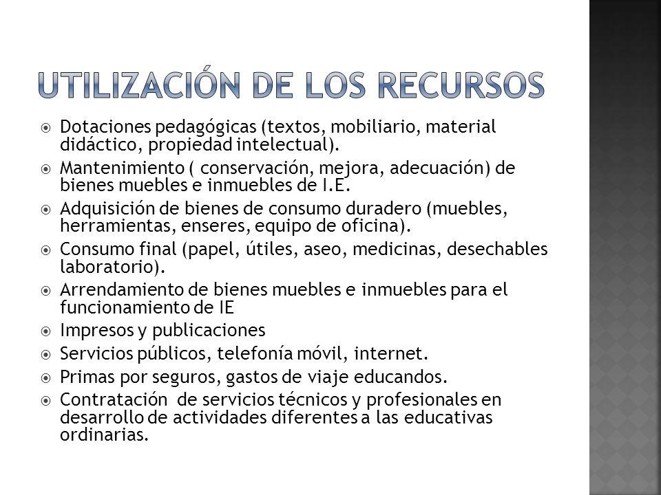 Dotaciones pedagógicas (textos, mobiliario, material didáctico, propiedad intelectual). Mantenimiento ( conservación, mejora, adecuación) de bienes mu