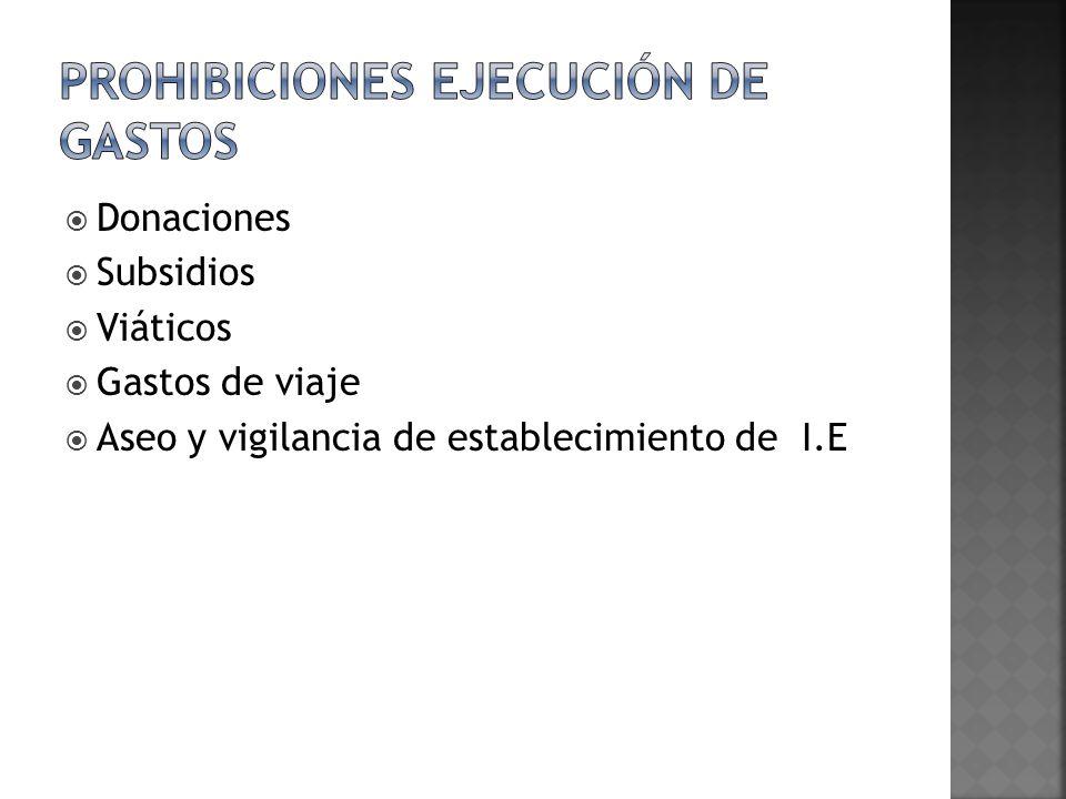 Donaciones Subsidios Viáticos Gastos de viaje Aseo y vigilancia de establecimiento de I.E