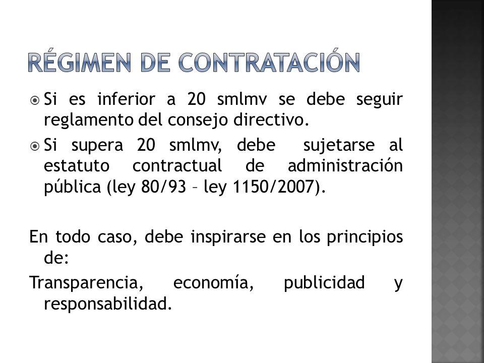 Si es inferior a 20 smlmv se debe seguir reglamento del consejo directivo. Si supera 20 smlmv, debe sujetarse al estatuto contractual de administració