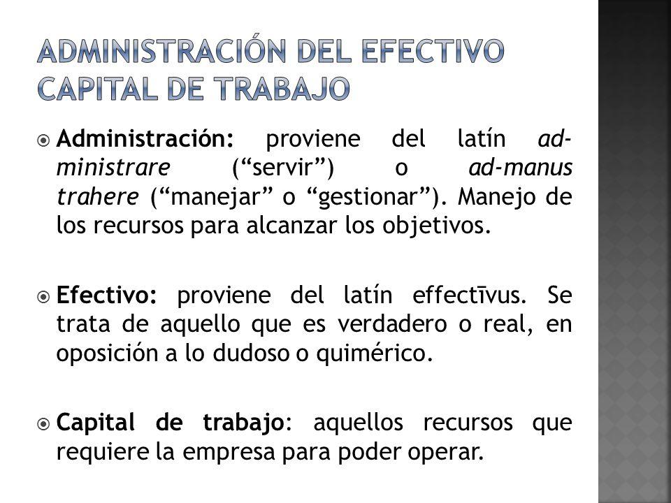 Administración: proviene del latín ad- ministrare (servir) o ad-manus trahere (manejar o gestionar). Manejo de los recursos para alcanzar los objetivo