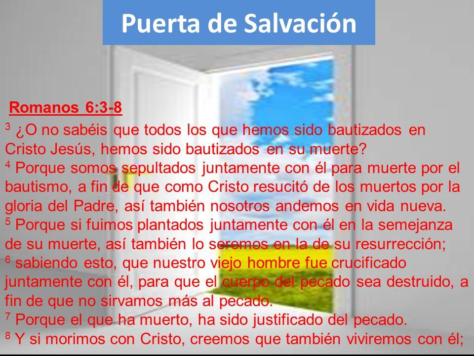 Puerta de Salvación 3 ¿O no sabéis que todos los que hemos sido bautizados en Cristo Jesús, hemos sido bautizados en su muerte? 4 Porque somos sepulta