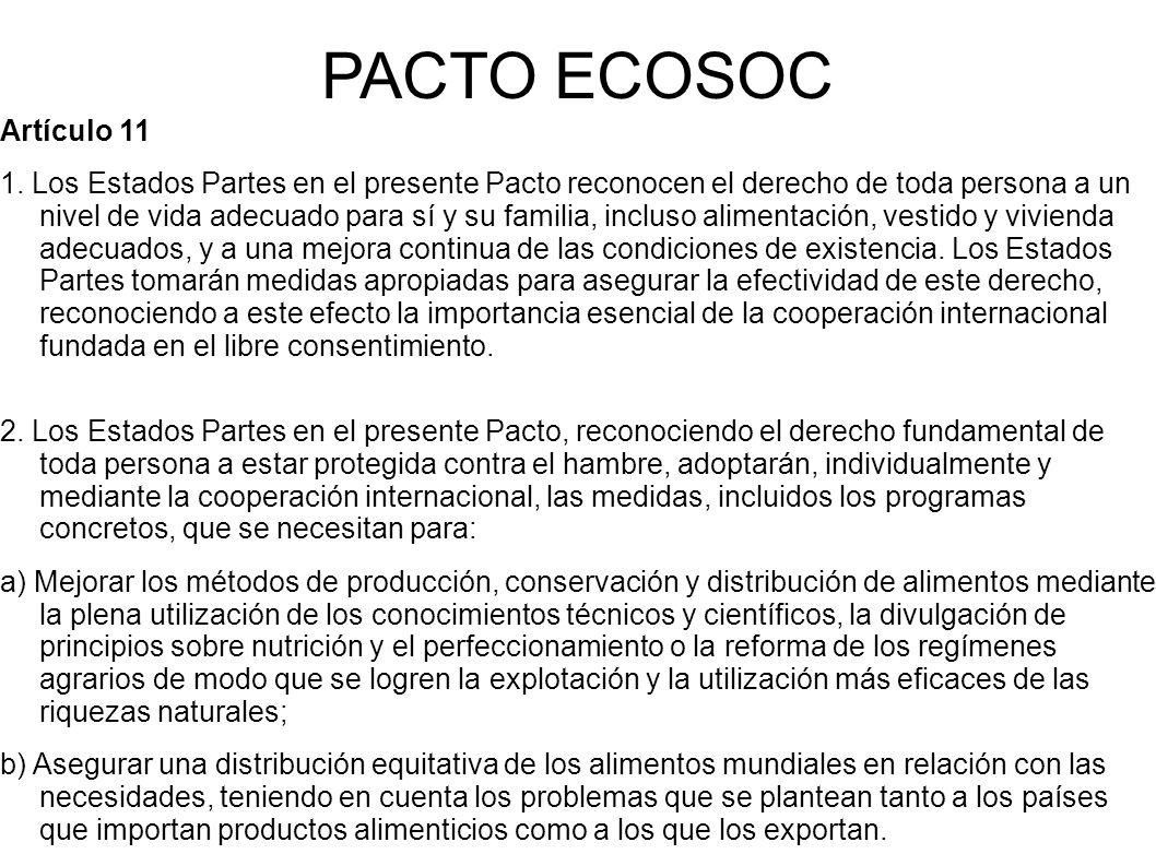 PACTO ECOSOC Artículo 11 1.