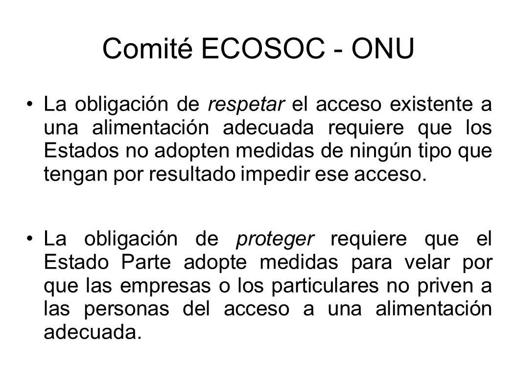 Comité ECOSOC - ONU La obligación de respetar el acceso existente a una alimentación adecuada requiere que los Estados no adopten medidas de ningún tipo que tengan por resultado impedir ese acceso.