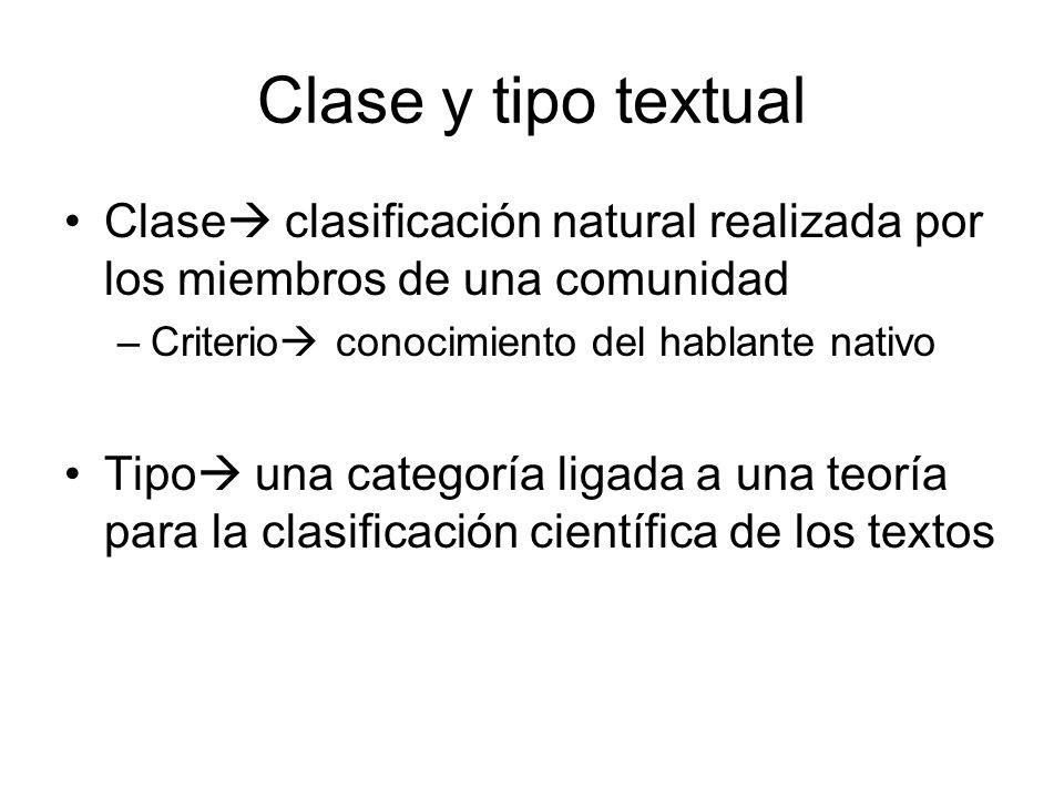 Clase y tipo textual Clase clasificación natural realizada por los miembros de una comunidad –Criterio conocimiento del hablante nativo Tipo una categoría ligada a una teoría para la clasificación científica de los textos